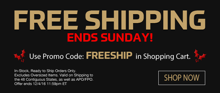 Free Shipping Ends Midnight Sunday