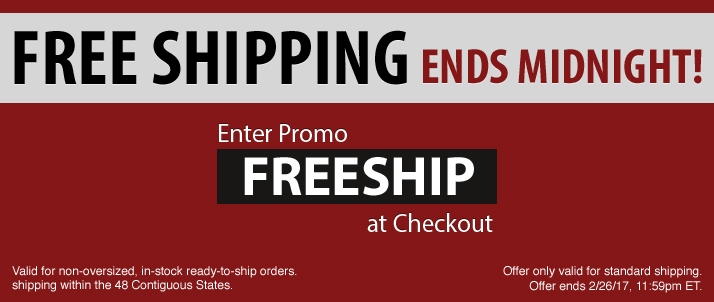 Free Shipping Ends Tonight at Midnight