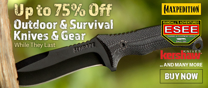 Up to 75% Off Outdoor & Survival Knives & Gear
