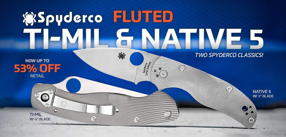 Spyderco Fluted Ti-Mil Military and Native 5 Folding Knives